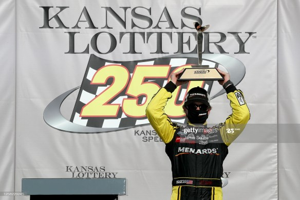 Brandon Jones snatches dramatic win in the NASCAR Xfinity Series, Kansas Lottery 250 on Saturday afternoon, July 25th at Kansas Speedway.