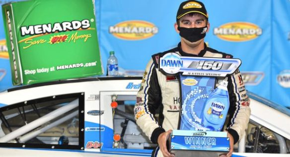 Bret Holmes finally savors victory in the ARCA Menards Series Dawn 150 for his first series win on Saturday, July 24th at Kansas Speedway.