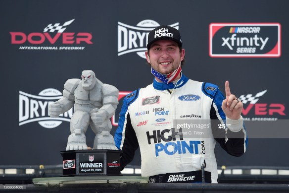 Chase Briscoe rediscovers victory in the NASCAR Xfinity Series Drydene 200 on Sunday afternoon at Dover International Speedway.