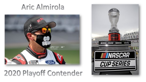 Aric Almirola earns a Playoff Berth for the third time in the NASCAR Cup Series with Stewart Haas Racing. The Round of 16 starts at Darlington Raceway.
