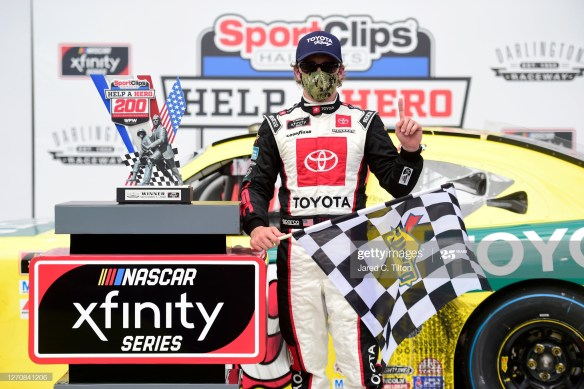 Brandon Jones steals a win in the NASCAR Xfinity Series Sport Clips Haircuts VFW 200 on Saturday afternoon at Darlington Raceway.