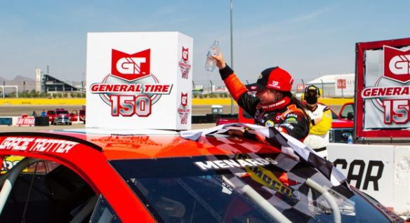 Gracie Trotter makes history with a Las Vegas Bullring victory in the ARCA Menards Series West General Tire 150 at Las Vegas Motor Speedway.