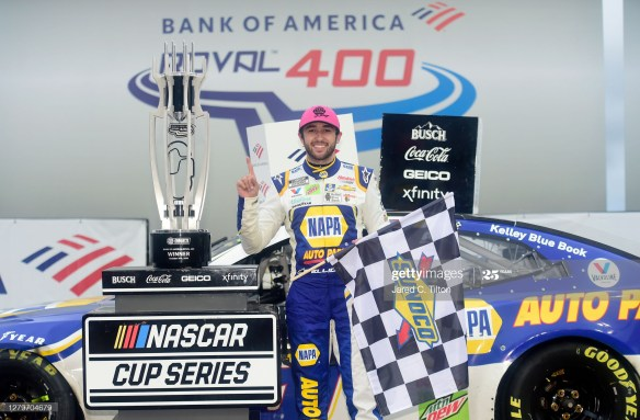 Elliott's Charlotte ROVAL win advances him to the NASCAR Cup Series Round of 8 Playoffs after his victory in the Bank of America ROVAL 400 on Sunday afternoon.