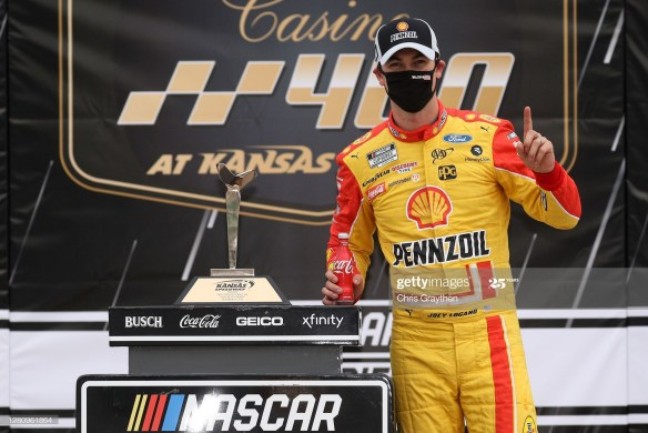 Joey Logano locks Championship 4 spot with a win in the NASCAR Cup Series Hollywood Casino 400 at Kansas Speedway on Sunday, October 18, 2020.