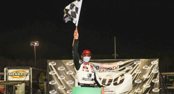 Sammy Smith cruises to the checkered at Five Flags Speedway for his first ARCA Menards Series East Victory in the Saturday night event.