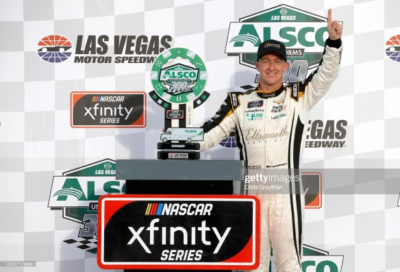 AJ Allmendinger hits the jackpot with an Xfinity Series win in the Alsco Uniforms 300 at Las Vegas Motor Speedway on Saturday afternoon.