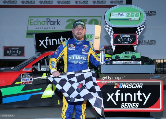 Justin Allgaier holds off Martin Truex Jr for a dramatic win in the NASCAR Xfinity Series Echo Park 250 at Atlanta Motor Speedway this past weekend.