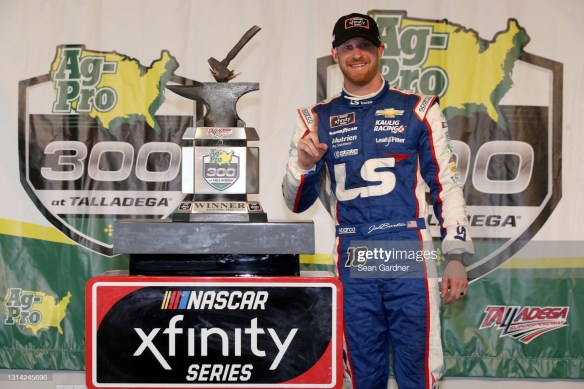 Jeb Burton earns his first NASCAR Xfinity Series win in the rain-shortened Ag-Pro 300 at Talladega Superspeedway on Saturday afternoon.