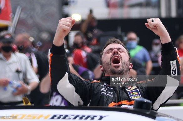 Josh Berry claims his first NASCAR Xfinity Series victory at Martinsville Speedway in the Cook Out 250 in the rain delayed race on Sunday afternoon.