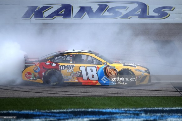 Kyle Busch upsets the field with his overtime victory in the NASCAR Cup Series Buschy McBusch Race 400 at Kansas Speedway on Sunday afternoon.