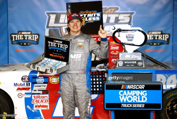 Sheldon Creed holds off Ben Rhodes for a Darlington win in the NASCAR Camping World Truck Series LiftKits4Less.com 200 on Friday night.