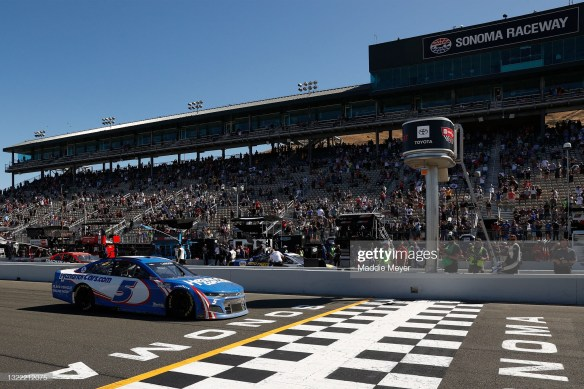Kyle Larson sweeps three stages to earn a win at Sonoma Raceway in the NASCAR Cup Series Toyota/Save Mart 350 on Sunday.