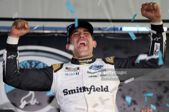 Aric Almirola earns an unexpected win at New Hampshire Motor Speedway in the NASCAR Cup Series Foxwoods Resort Casino 301 on Sunday evening.