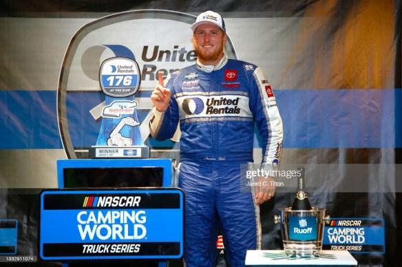 Austin Hill wins a rain-shortened race at Watkins Glen International in the NASCAR Truck Series United Rentals 176 on Saturday afternoon.