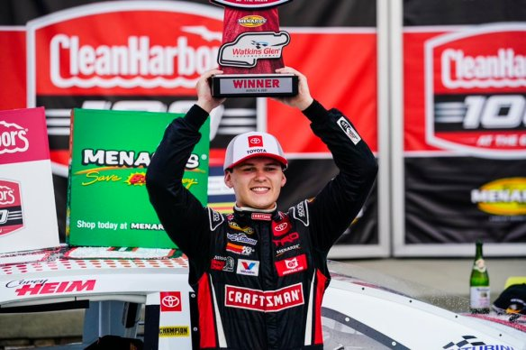 Corey Heim cruises to win at Watkins Glen and closes the gap to Ty Gibbs in points in the ARCA Menards Series on Friday night.
