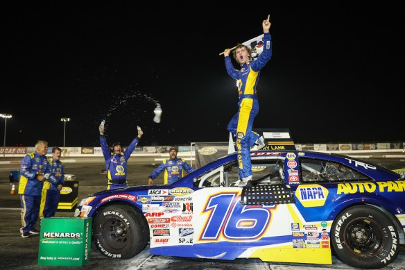 Jesse Love earns third straight Irwindale victory in the ARCA Menards Series West NAPA Auto Parts 150 on Saturday night.