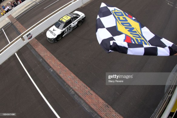 AJ Allmendinger wins late thriller at Indy Road Coursein the NASCAR Cup Series Verizon 200 on Sunday afternoon in Indianapolis.