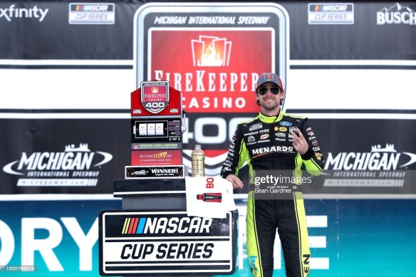 Ryan Blaney puts Ford back in Victory Lane at Michigan International Speedway in the NASCAR Cup Series on Sunday afternoon.