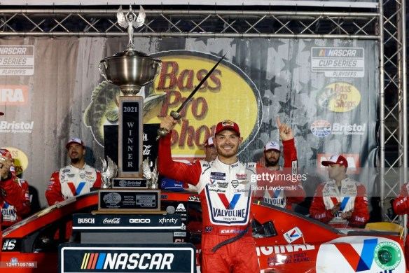 Kyle Larson wins a wild NASCAR Cup elimination race at Bristol Motor Speedway in the Bass Pro Shops Night Race on Saturday night.