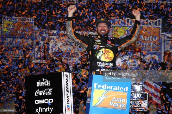 Martin Truex Jr wins the playoff race at Richmond Raceway in the NASCAR Cup Series Federated Auto Parts 400 on Saturday.