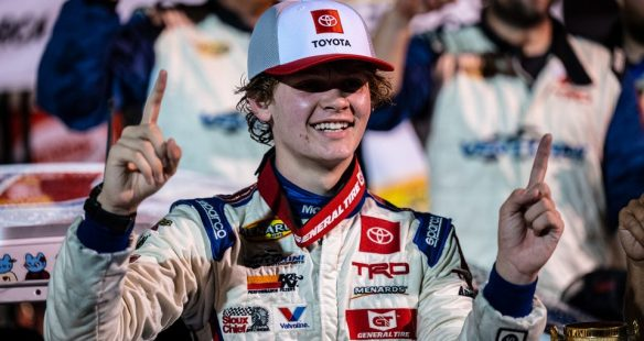 Jesse Love earns first ARCA Menards Series victory; Ty Gibbs wins Showdown title at Salem Speedway in the Sioux Chief PowerPEX 20 on Saturday.