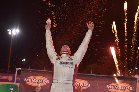 PJ Pedroncelli pulls off a stunner victory at All-American Speedway in the ARCA Menards Series West NAPA AutoCare 150 on Saturday night.