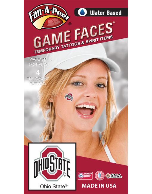 CB-19-R_Fr - Ohio State University (OSU) Buckeyes - Water Based Temporary Spirit Tattoos - 4-Piece - Scarlet/Black/White O-Ohio State Logo