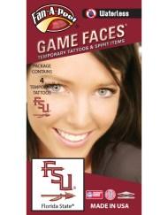W-CB-13_Fr - Florida State (FSU) Seminoles - Waterless Peel & Stick Temporary Spirit Tattoos - 4-Piece - Garnet/Gold FSU Spear Logo