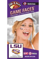W-CI-50-R_Fr - Louisiana State University (LSU) Tigers - Waterless Peel & Stick Temporary Spirit Tattoos - 4-Piece - 2 Purple/Gold LSU Logo & 2 Purple/Gold Tiger Eye Logo