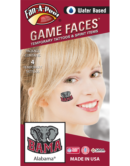 CB-11_Fr - University of Alabama (UA) Crimson Tide - Water Based Temporary Spirit Tattoos - 4-Piece - Crimson/Gray Bama Elephant Logo