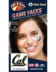 CB-159_Fr - University of California Berkeley (UC Berkeley) Golden Bears - Water Based Temporary Spirit Tattoos - 4-Piece - Blue/Gold Cal Logo