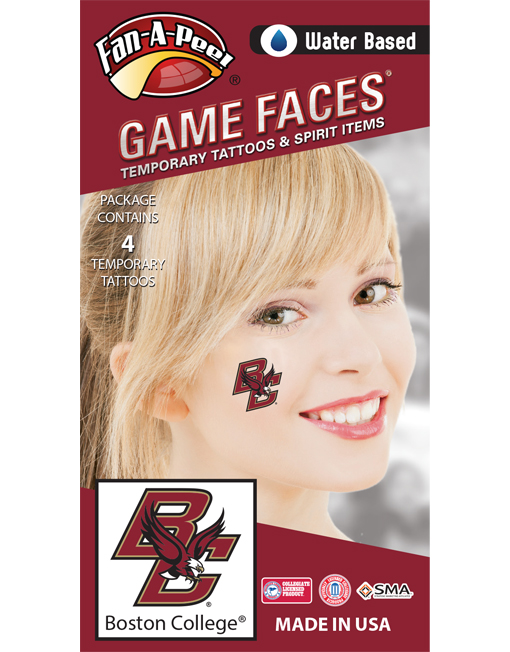 CB-275_Fr - Boston College (BC) Eagles - Water Based Temporary Spirit Tattoos - 4-Piece - Maroon/Gold BC Logo
