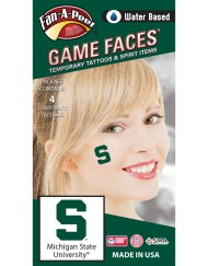 CB-80_Fr - Michigan State University (MSU) Spartans - Water Based Temporary Spirit Tattoos - 4-Piece - Green S Logo