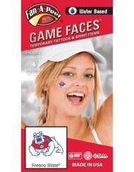 CF-142-R_Fr - Fresno State Bulldogs - Water Based Temporary Spirit Tattoos - 4-Piece - Red/White/Blue Bulldog Logo