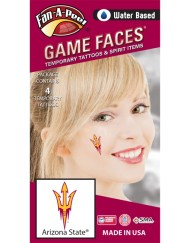 CF-39_Fr - Arizona State University (ASU) Sun Devils - Water Based Temporary Spirit Tattoos - 4-Piece - Maroon/Gold Trident Logo