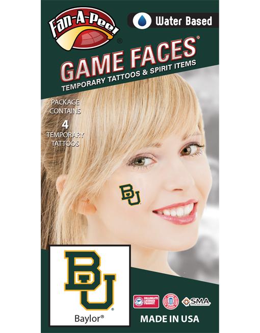 CF-40_Fr - Baylor University Bears - Water Based Temporary Spirit Tattoos - 4-Piece - Green/Gold BU Logo