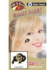CF-41_Fr - Colorado University (CU) Buffaloes - Water Based Temporary Spirit Tattoos - 4-Piece - Black/Gold CU Bison Logo