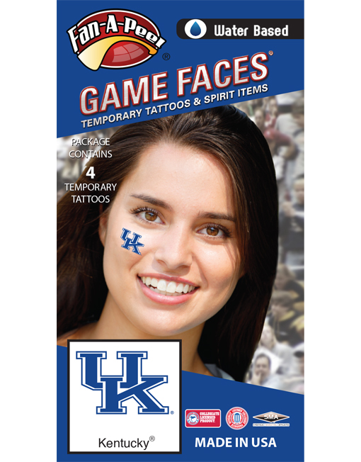 CF-49-R_Fr - University of Kentucky (UK) Wildcats - Water Based Temporary Spirit Tattoos - 4-Piece - Blue/White UK Logo