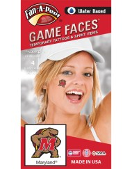 CF-51-R_Fr - University of Maryland (UMCP) Terrapins - Water Based Temporary Spirit Tattoos - 4-Piece - Testudo Logo