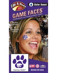 CF-92_Fr - Kansas State University (KSU) Wildcats - Water Based Temporary Spirit Tattoos - 4-Piece - White Willie Cat Head Logo on Purple Paw Print