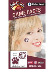 CJ-54_Fr - Mississippi State University (MSU) Bulldogs - Water Based Temporary Spirit Tattoos - 4-Piece - 2 Bully Dog Head Logo & 2 Maroon/White Paw Print