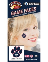 CS-101_Fr - University of Connecticut (UCONN) Huskies - Water Based Temporary Spirit Tattoos - 4-Piece - White/Navy Blue Husky Head Logo in Paw Print
