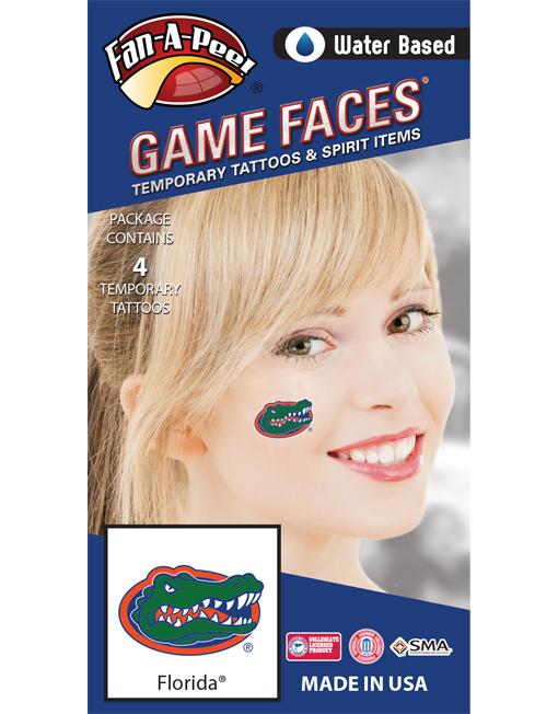 CS-14_Fr - University of Florida (UF) Gators - Water Based Temporary Spirit Tattoos - 4-Piece - Green/Orange/Blue Gator Head Oval