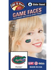 CS-14_Fr - University of Florida (UF) Gators - Water Based Temporary Spirit Tattoos - 4-Piece - Green/Orange/Blue Gator Head Oval