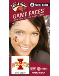 CS-47_Fr - Iowa State University (ISU) Cyclones - Water Based Temporary Spirit Tattoos - 4-Piece - Cardinal/Gold I-State Logo