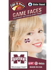 CS-54_Fr - Mississippi State University (MSU) Bulldogs - Water Based Temporary Spirit Tattoos - 4-Piece - Maroon/White M-State Logo