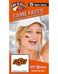 CX-61-R_Fr - Oklahoma State University (OSU) Cowboys - Water Based Temporary Spirit Tattoos - 4-Piece - Orange OSU Logo