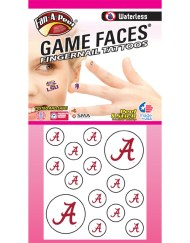 FN-11-R_Fr - University of Alabama (UA) Crimson Tide - Waterless Peel & Stick Temporary Tattoos - 14-Piece Combo - 12 Fingernail Tattoos & 2 Spirit Tattoos - Crimson A Logo