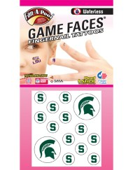 FN-80-R - Michigan State University (MSU) Spartans - Waterless Peel & Stick Temporary Tattoos - 14-Piece Combo - 12 Green S Logo Fingernail Tattoos & 2 Green Sparty Helmet Spirit Tattoos