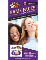 CP-50-R_Fr - Louisiana State University (LSU) Tigers - Waterless Peel & Stick Temporary Tattoos - 12-Piece Combo - 4 Purple/Gold LSU Logo & 4 Purple/Gold Tiger Eye Logo Spirit Tattoos & 4 Gold LSU Logo on Purple Eye Strips